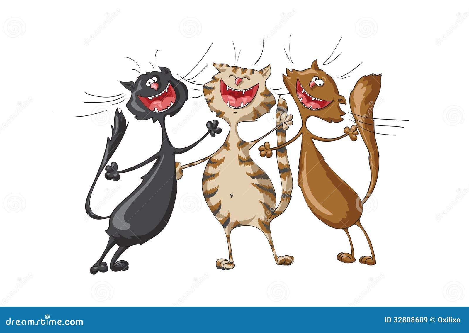 El principio de incertiduMbre - Página 3 Trois-chats-heureux-chantant-la-chanson-gaie-sur-le-fond-blanc-d-isolement-32808609