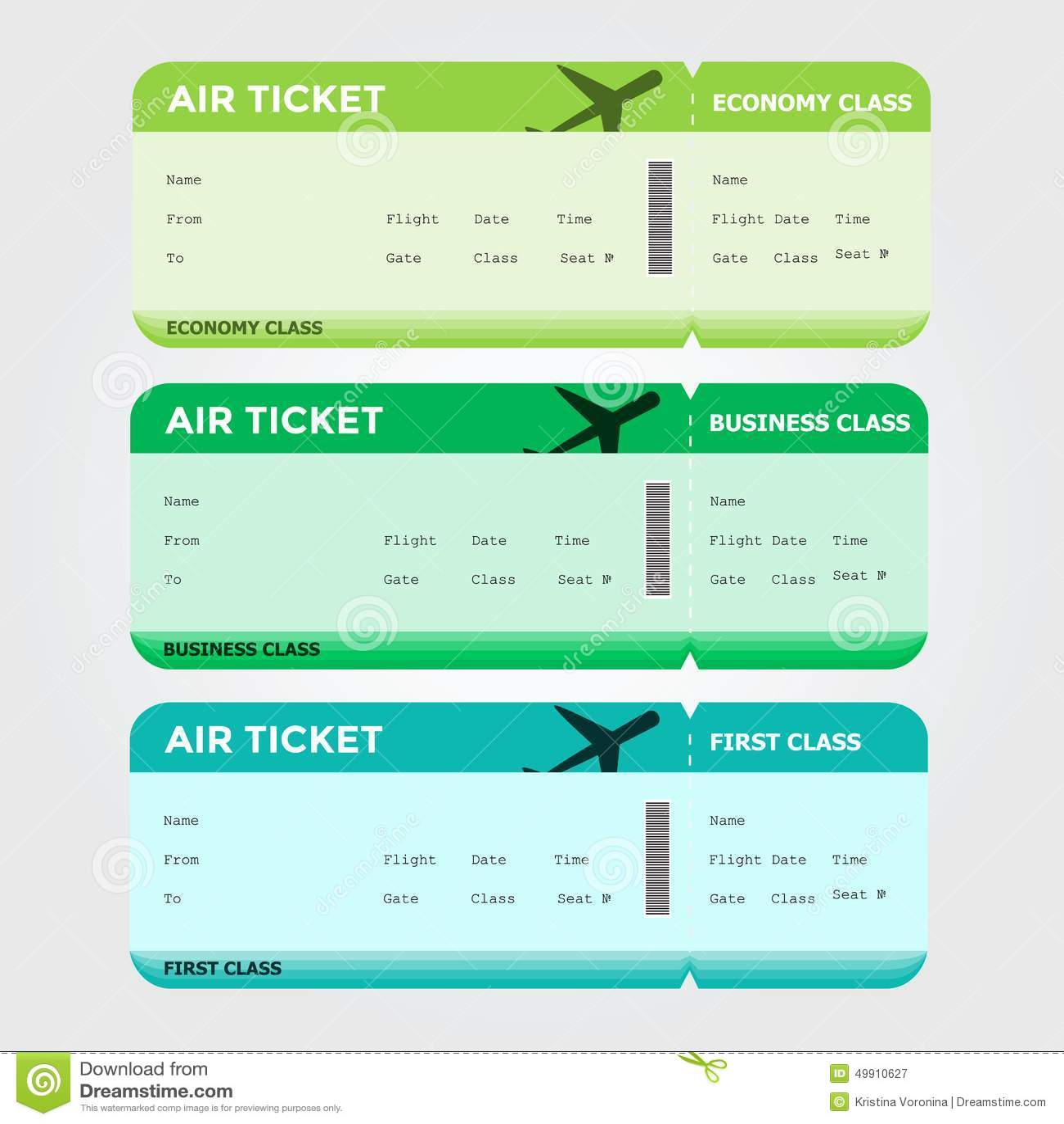trois classes de vert vide de carte d 39 embarquement de vol illustration de vecteur image 49910627. Black Bedroom Furniture Sets. Home Design Ideas