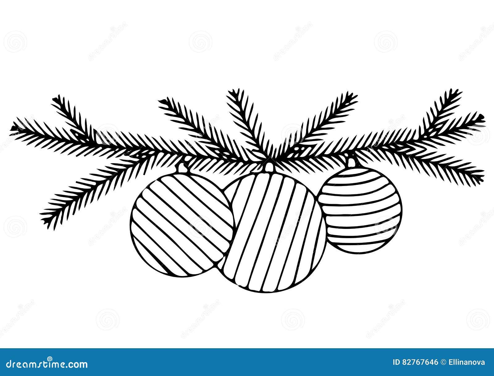 Trois Cloches Et Branches De Sapin Illustration de Vecteur
