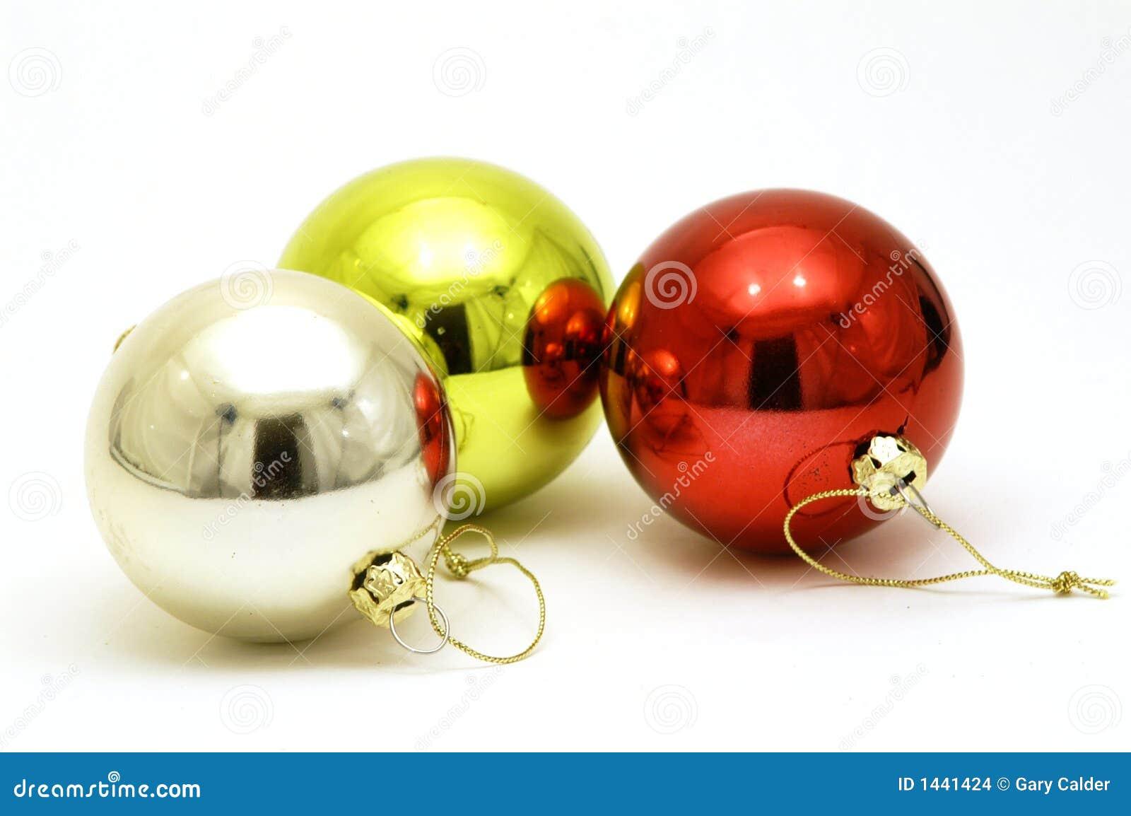 Trois décorations brillantes de Noël