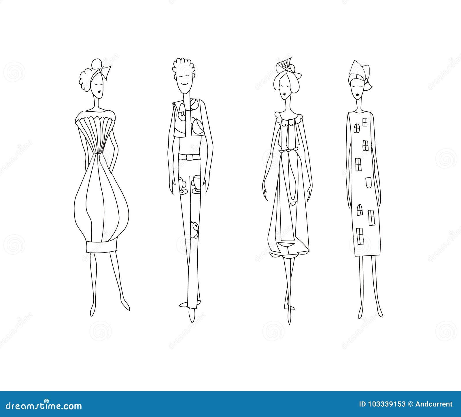 Trois Femmes De Mode Et Un Homme Image De Modèles De Vecteur De