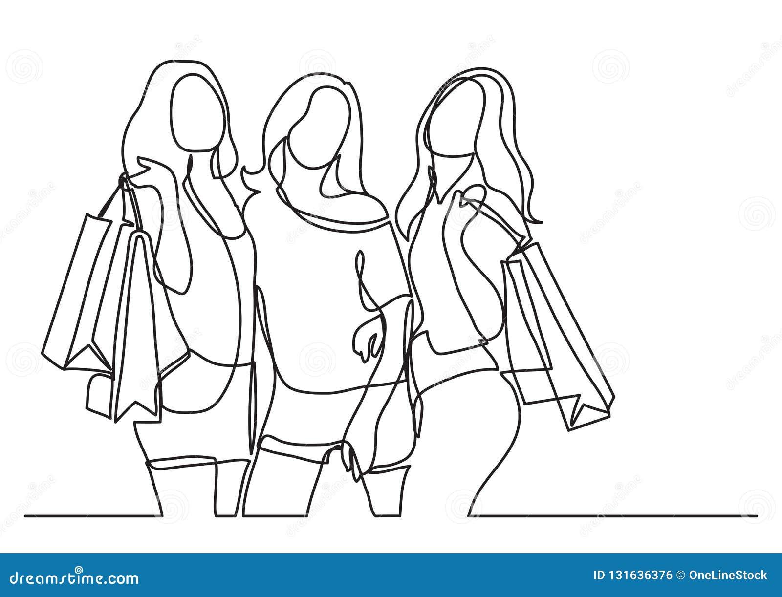 Trois femmes heureuses faisant des emplettes - dessin au trait continu