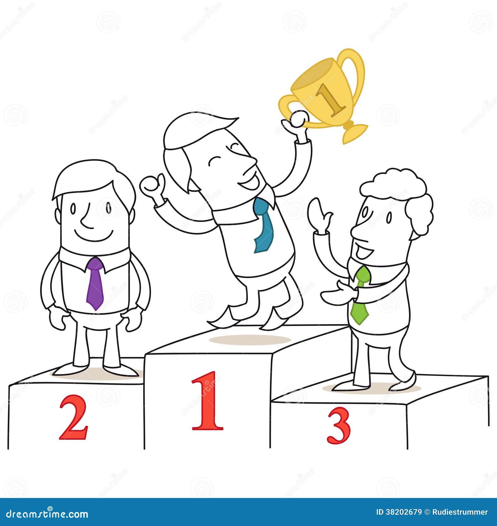 Trois gens d 39 affaires sur le podium images libres de - Dessin podium ...