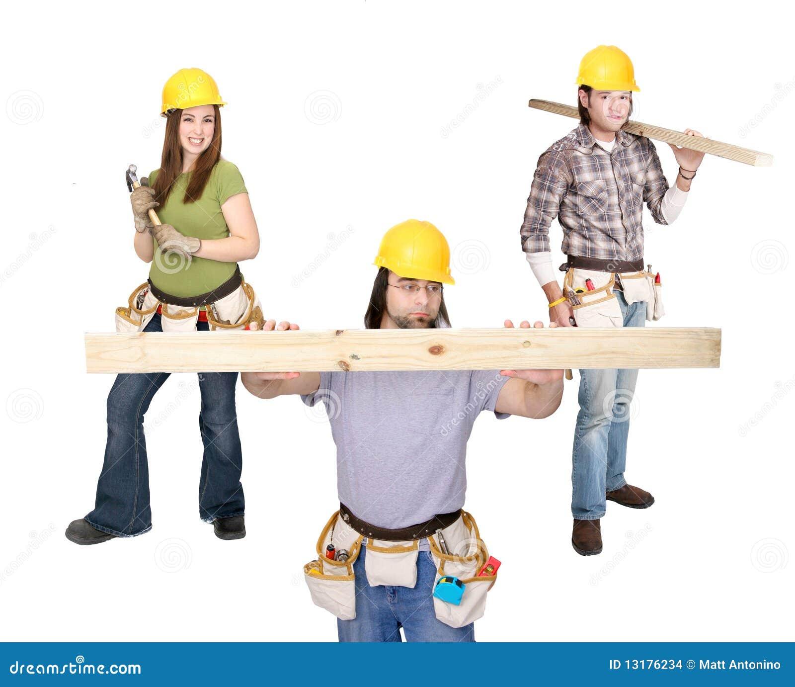 Trois gens de construction