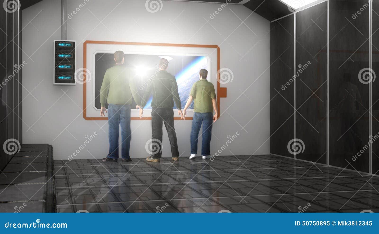 Trois Hommes Dans Le Salon Futuriste Illustration Stock