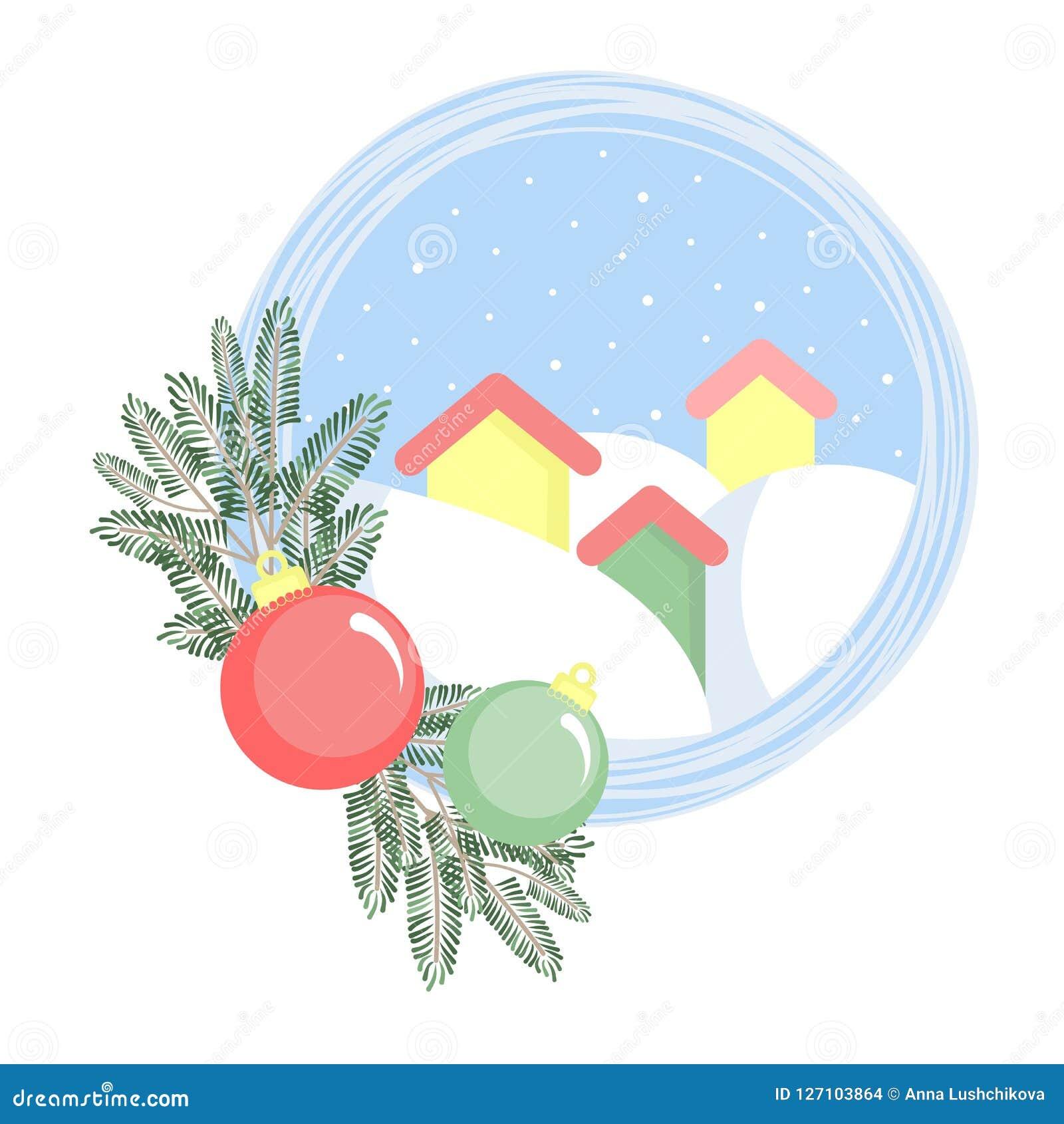 Trois maisons en congères avec des branches de sapin et des boules de Noël