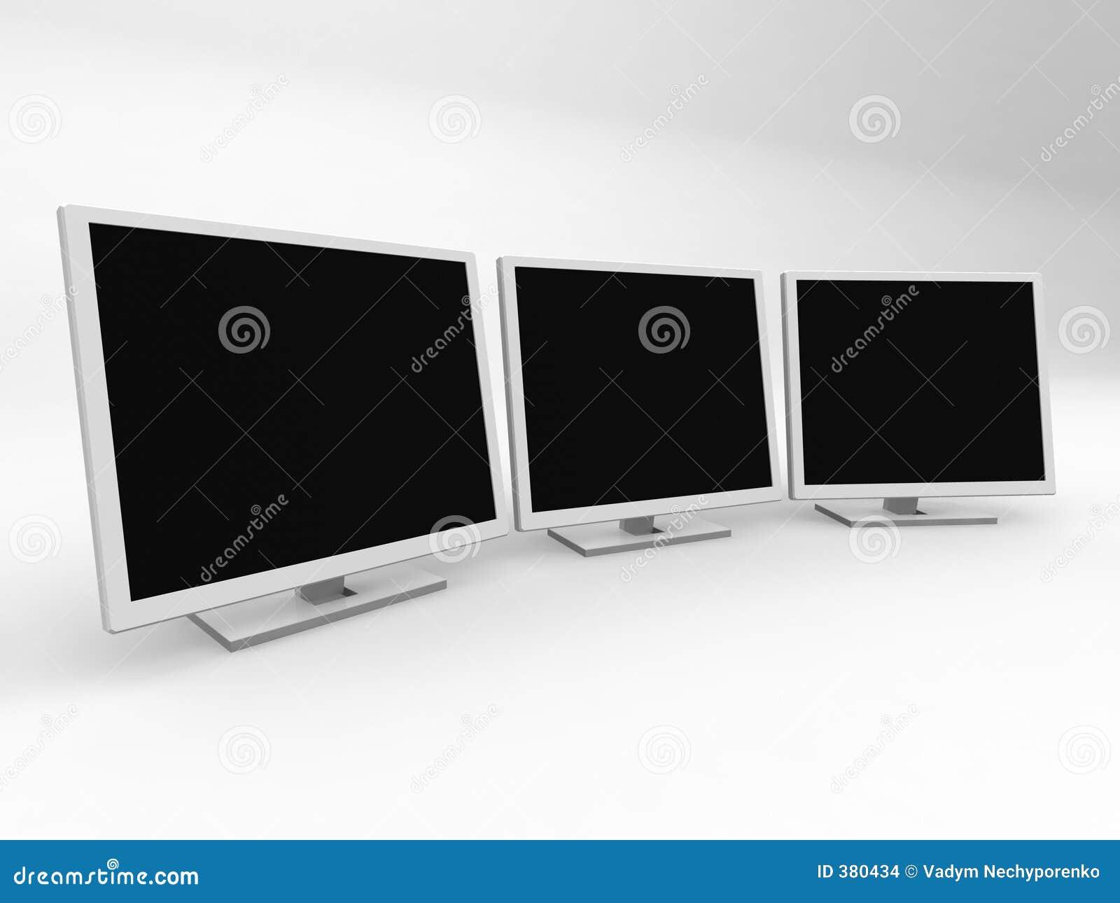 Trois moniteurs