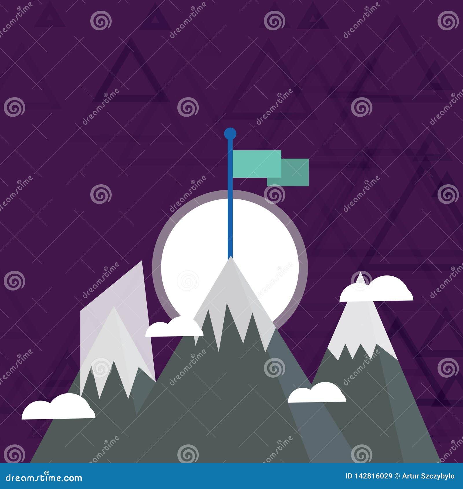 Trois montagnes avec la neige dépasse les petits nuages On a le drapeau coloré vide se tenant à la crête créateur