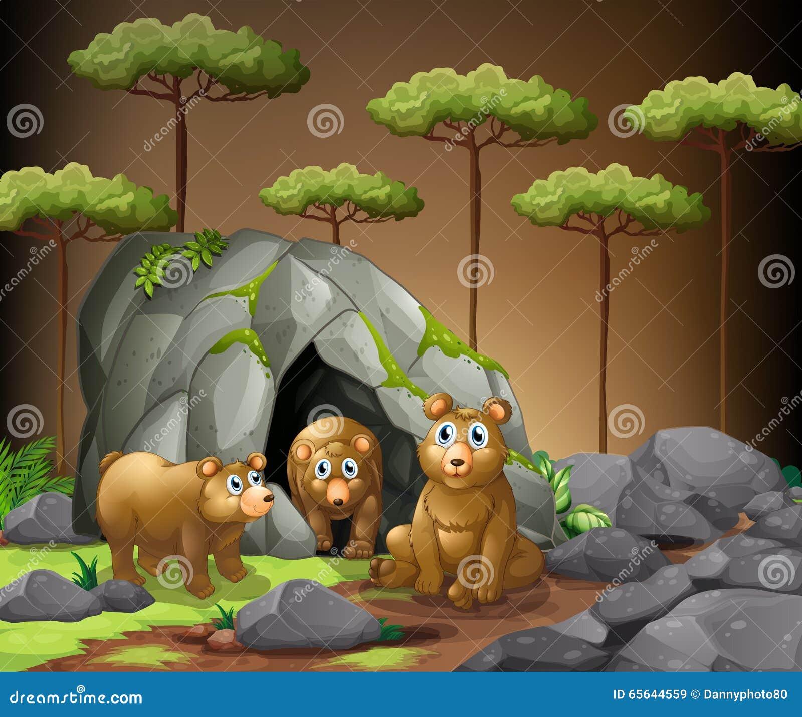 Trois ours vivant dans la caverne
