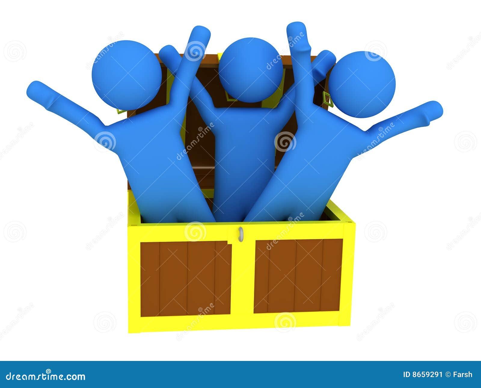 Trois personnes avec le coffre de trésor