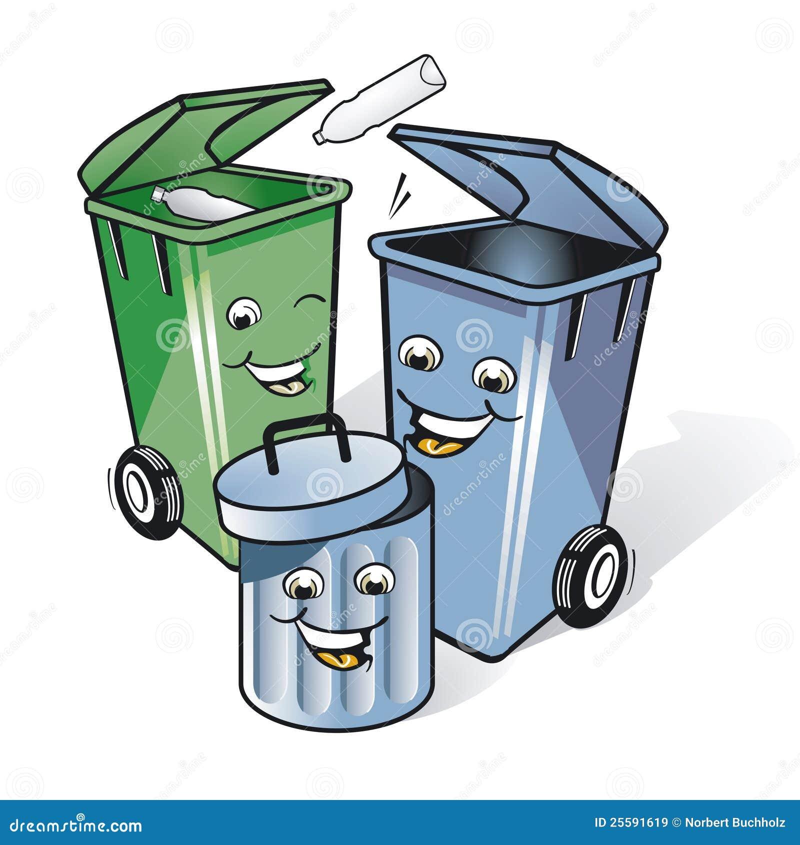Trois poubelles comiques images libres de droits image - Poubelle trois compartiments ...