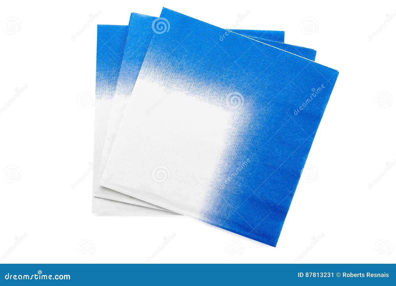 Trois serviettes blanches bleues de papper d isolement