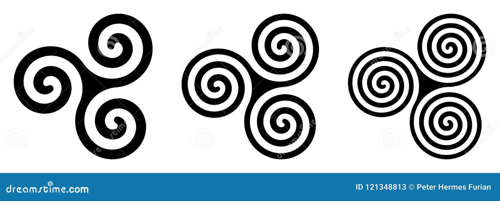 Trois spirales celtiques noires de triskelion au-dessus de blanc
