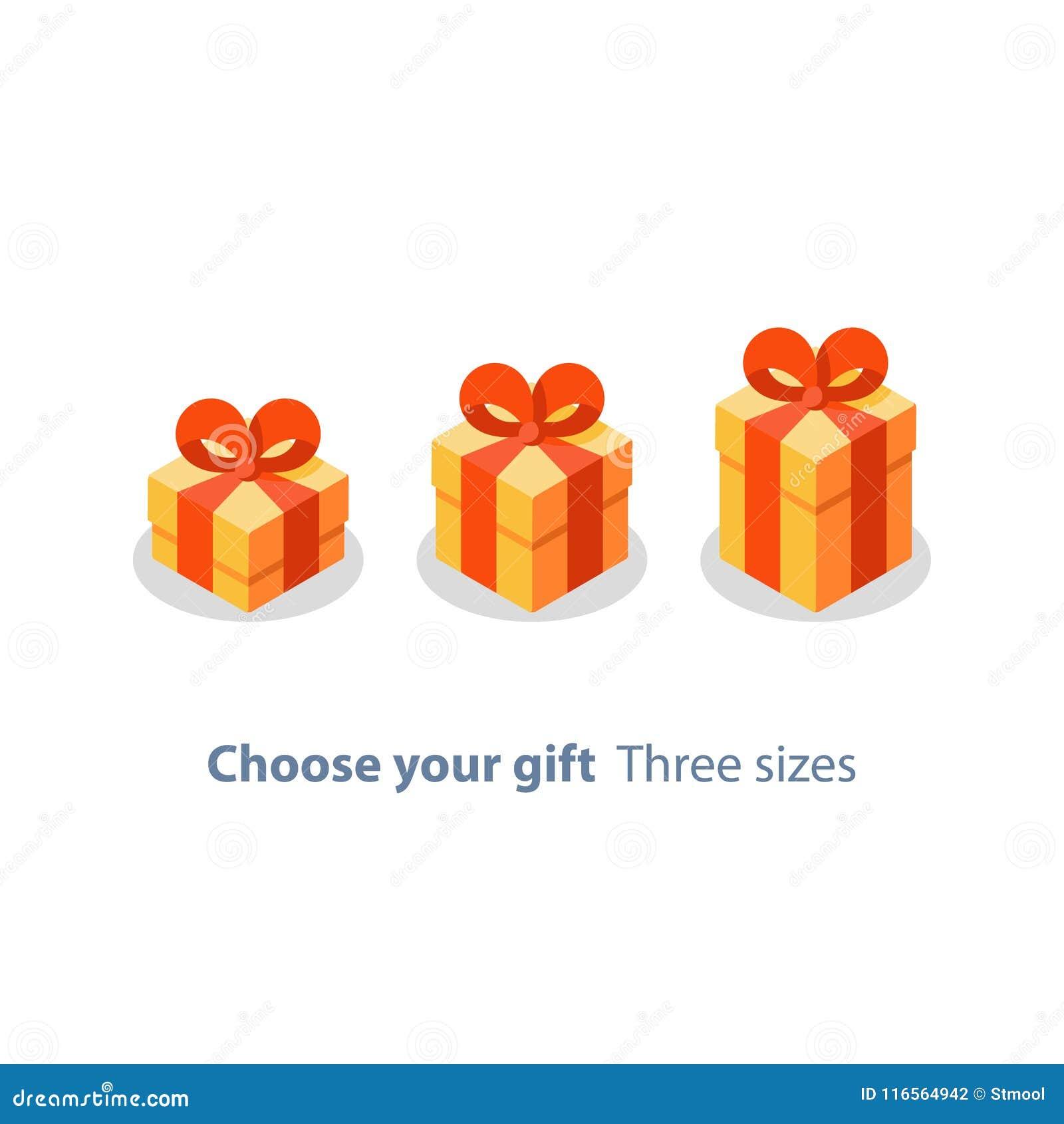 La Boite Jaune Prix trois tailles de cadeau, boîte jaune, ruban rouge, don