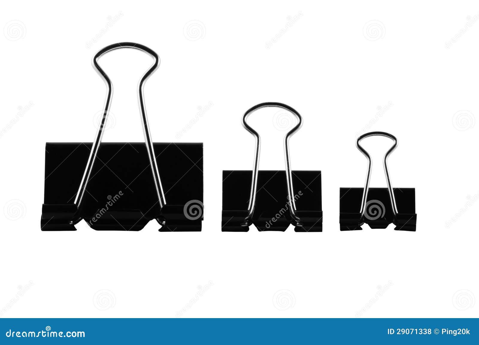 trois trombones de bureau photo stock image du isolement 29071338. Black Bedroom Furniture Sets. Home Design Ideas