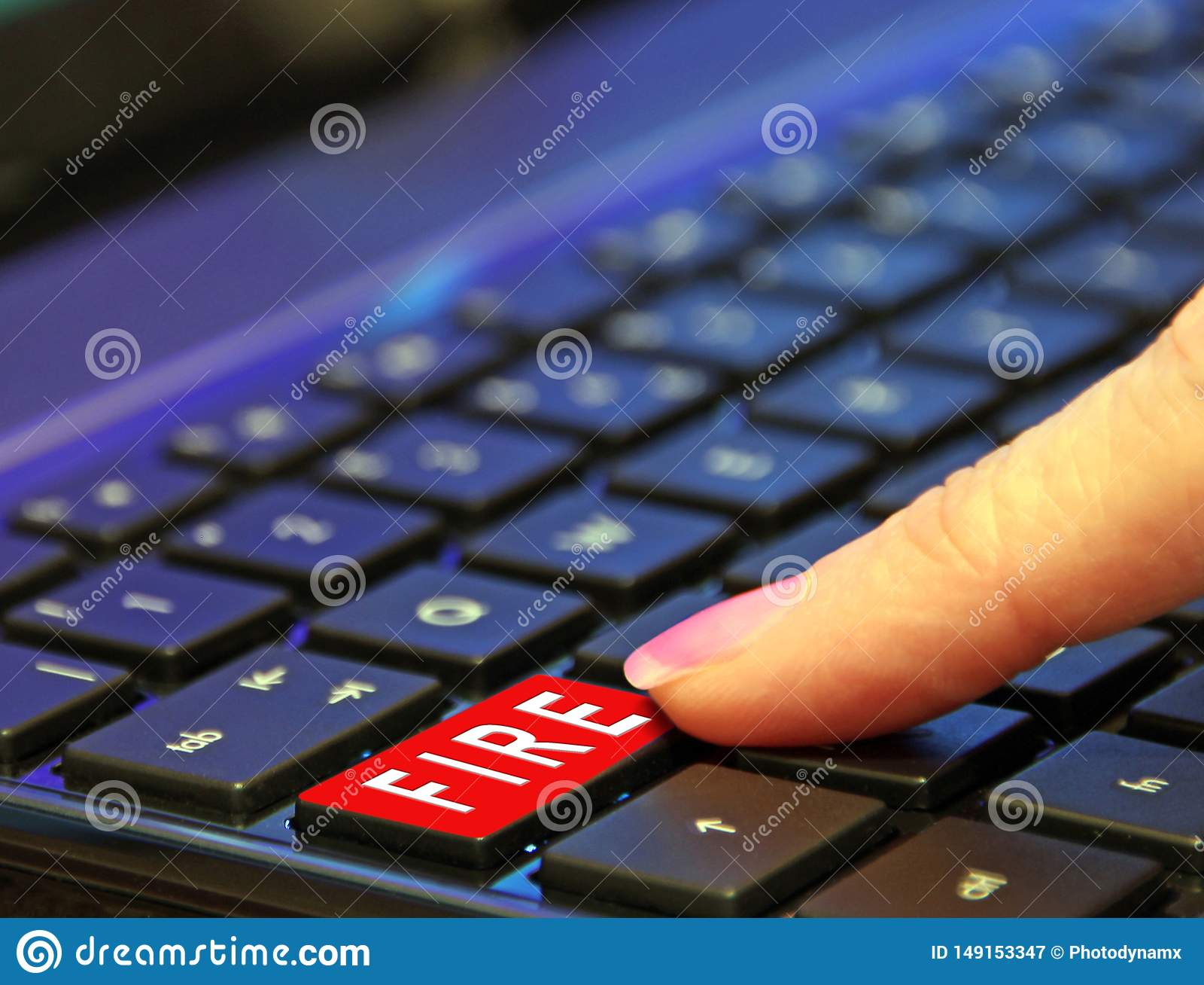 Trojan fonc? de ransomware de malware de virus de Web d attaque malveillante de bouton de rouge du feu d ordinateur