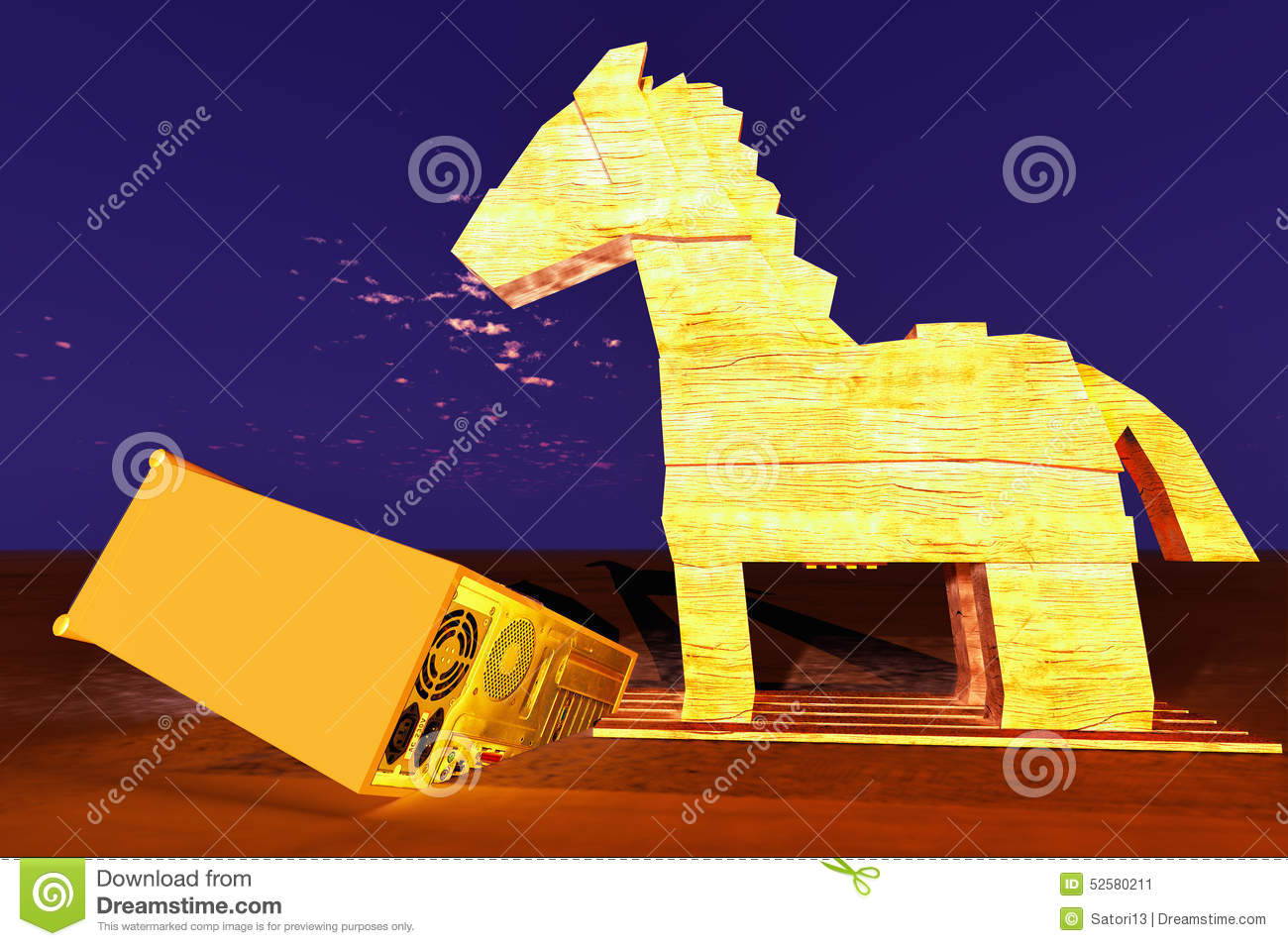 Trojan Horse And Computer Stock Illustration - Image: 52580211