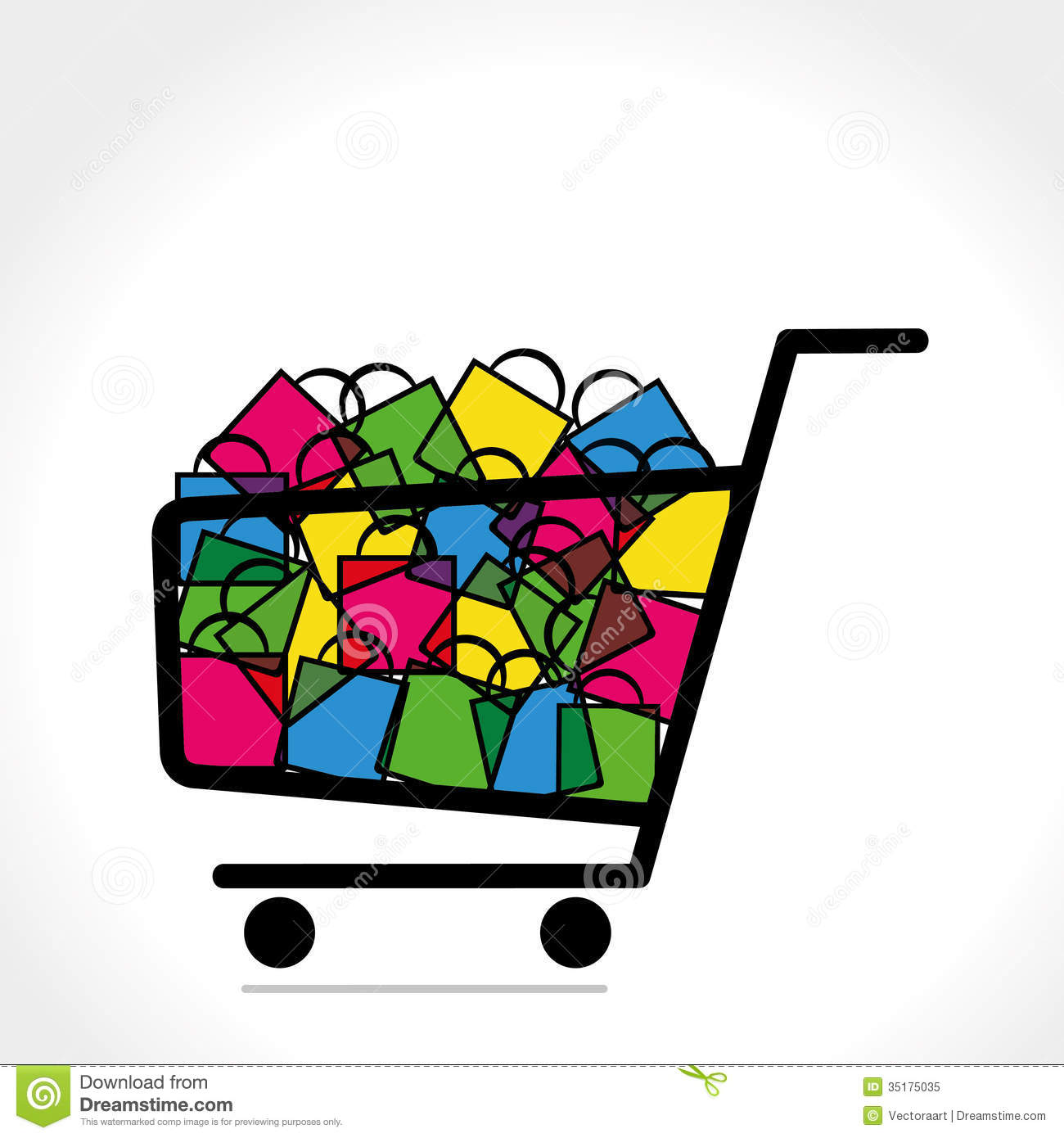 Trolley With Full Of Shopping Bag Royalty Free Stock Photo - Image ...