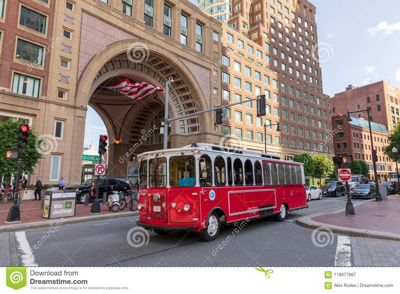 Trolley Tour bus in front of Boston Harbor Hotel