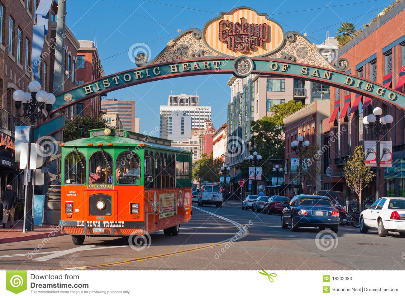 Trolley Tour In Gaslamp District In San Diego Editorial