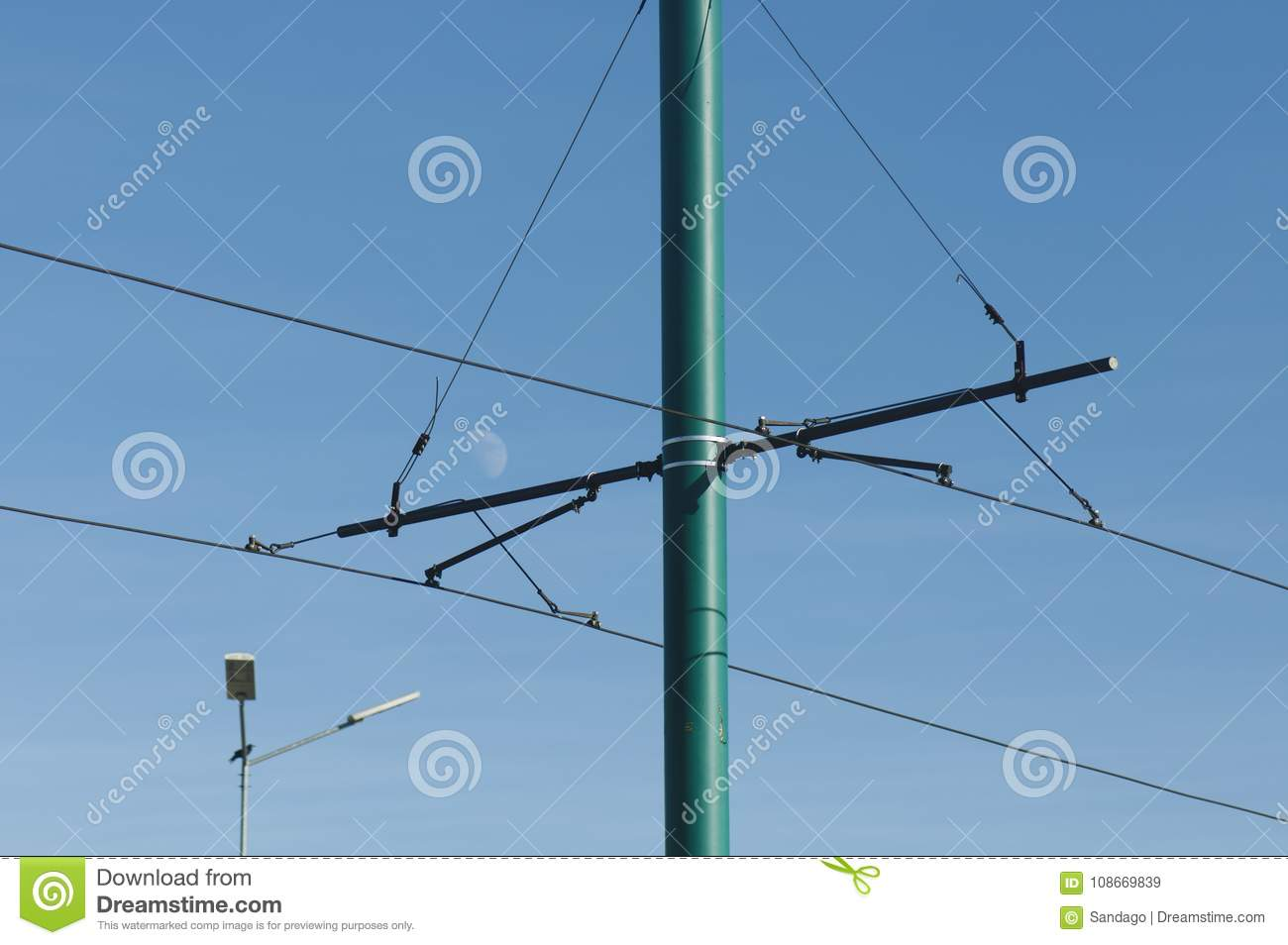 Trolley wire of a tram stock image. Image of power, light - 108669839