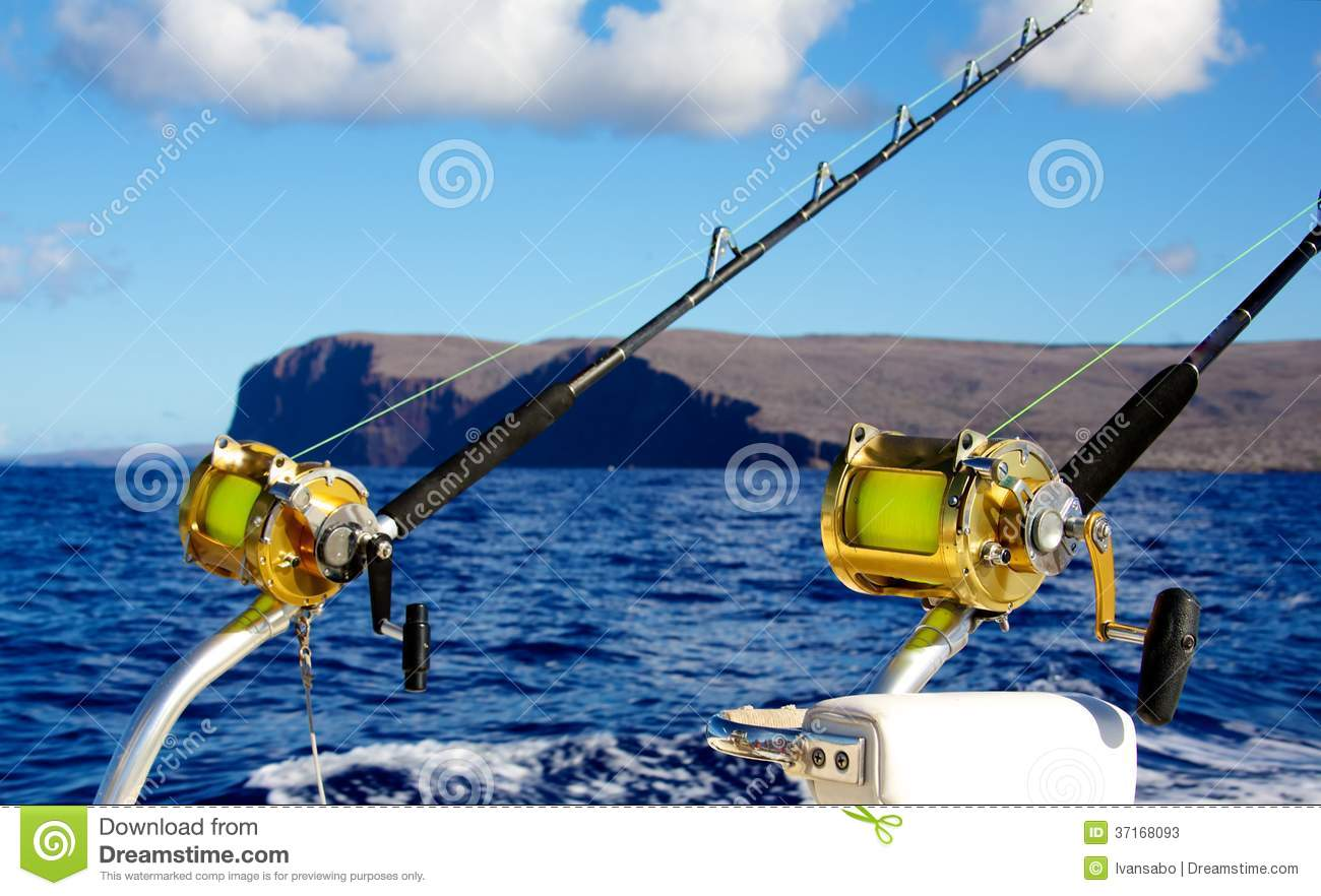 Trolling for big game stock photos image 37168093 for How many fishing rods per person in texas