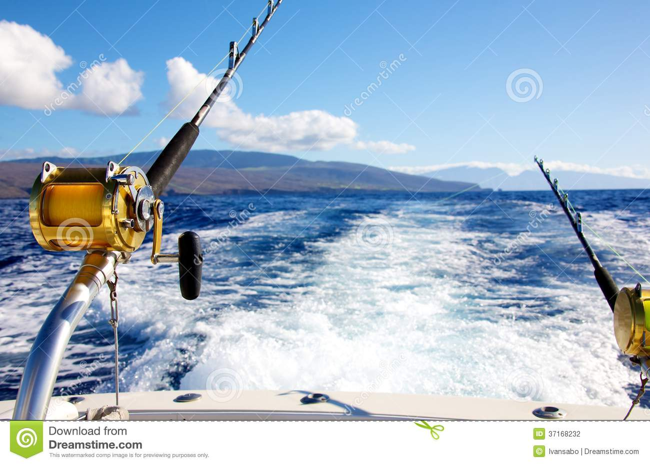 Trolling for big game stock photo image of reel seascape Trolls fishing pole