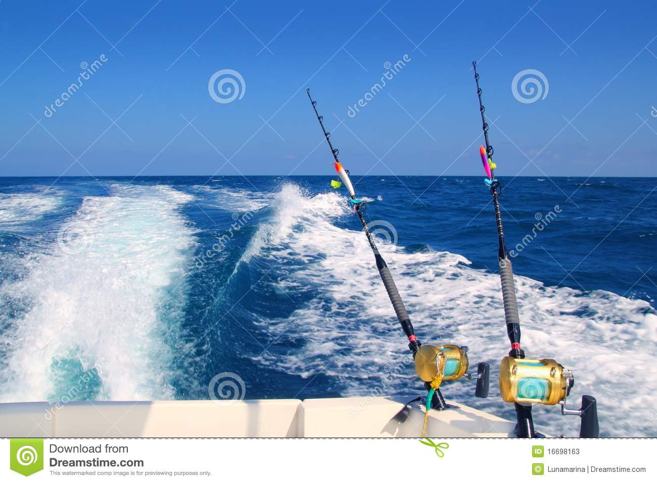 Trolling fishing boat rod saltwater reels stock photos for Trolls fishing pole