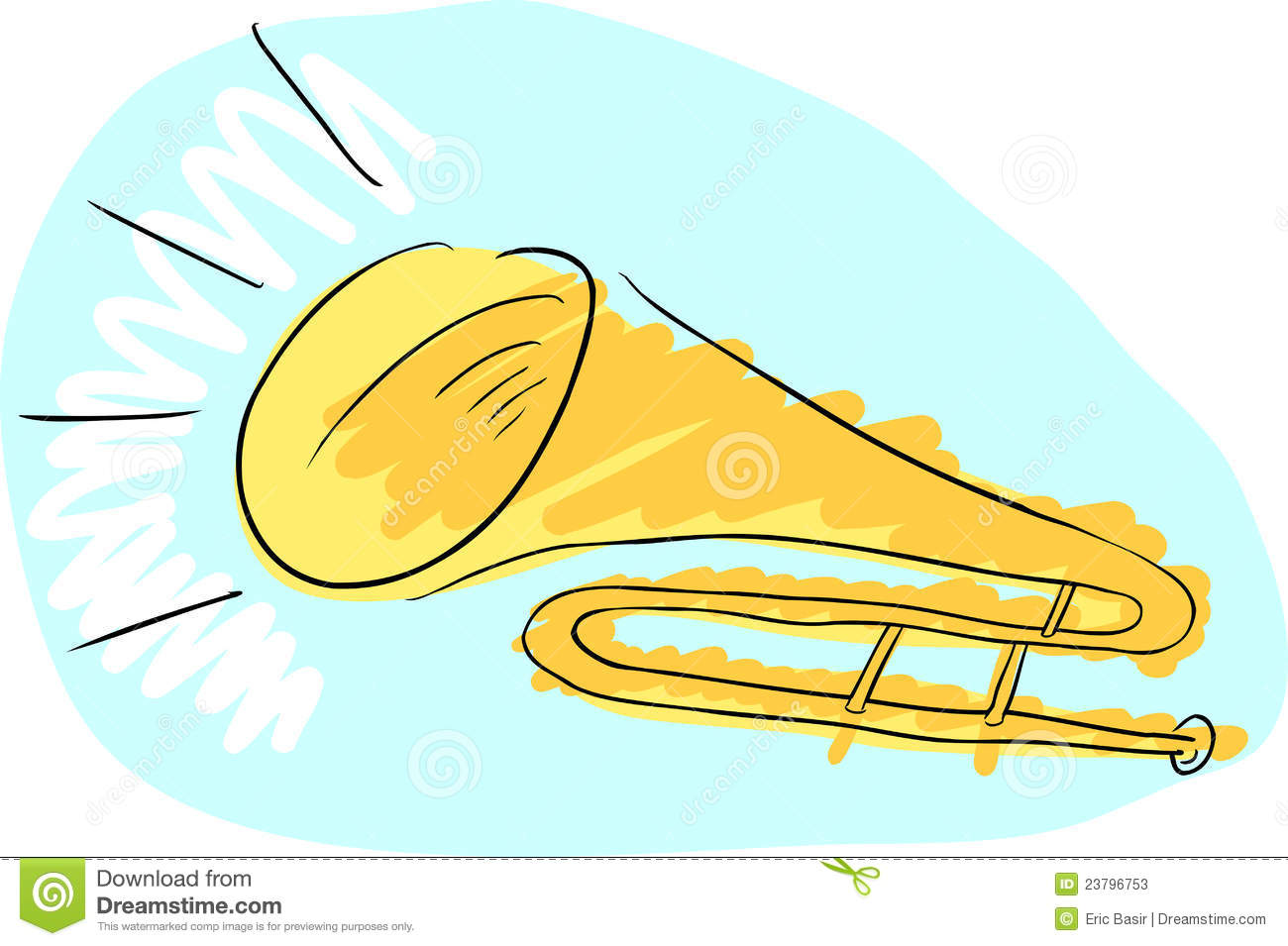 Doodle drawing of a trombone with sound coming from it.