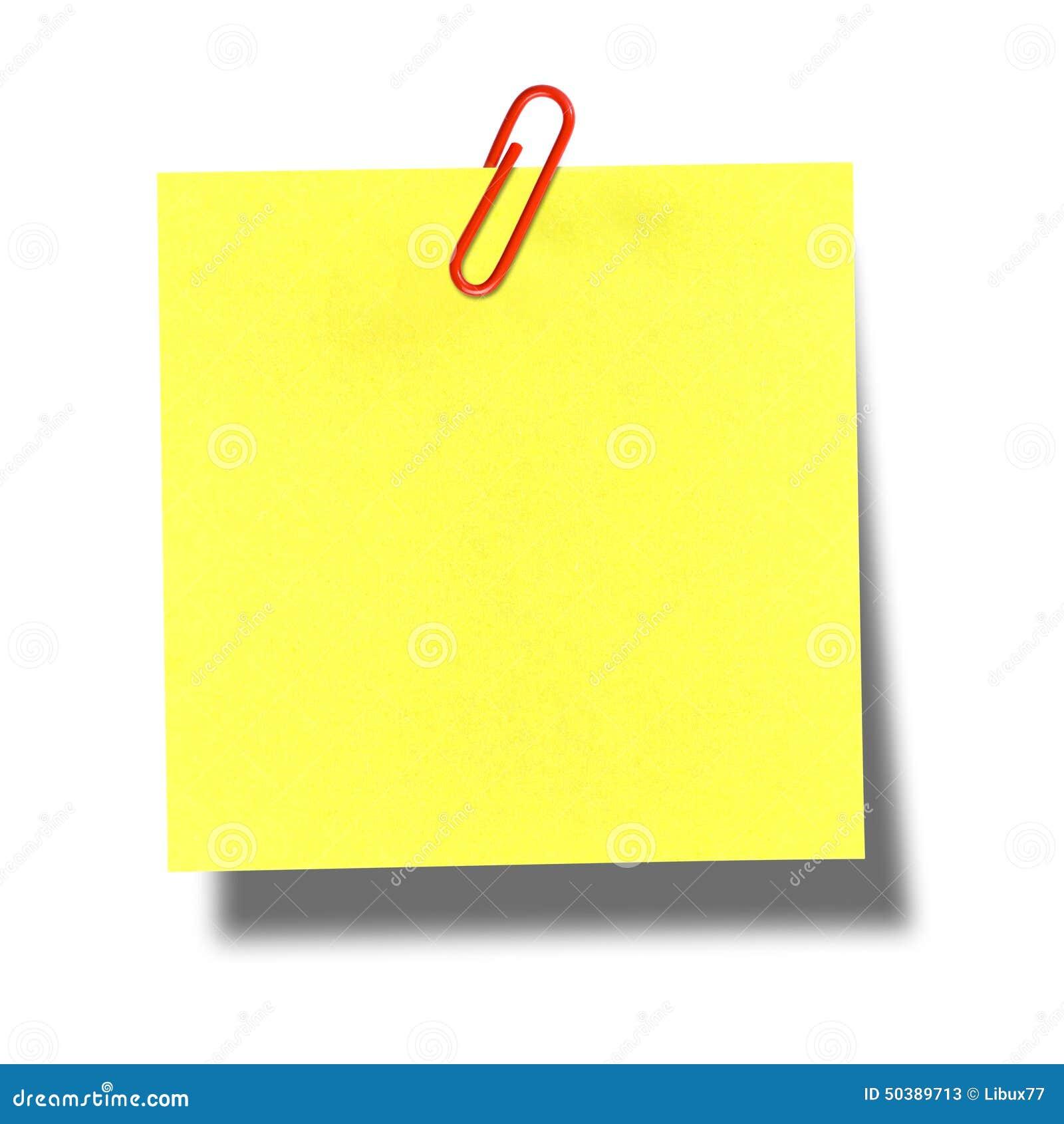 trombone rouge de post it jaune photo stock image 50389713. Black Bedroom Furniture Sets. Home Design Ideas