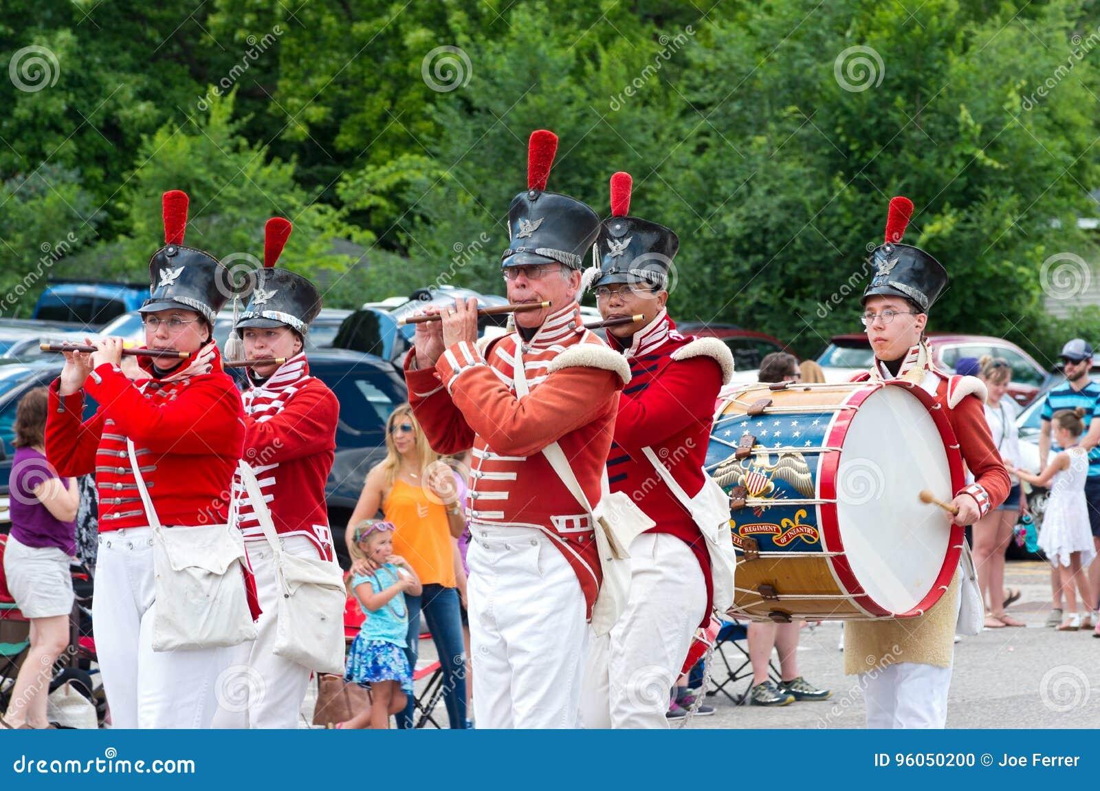 Trommel en Fife Corp bij Mendota-Parade