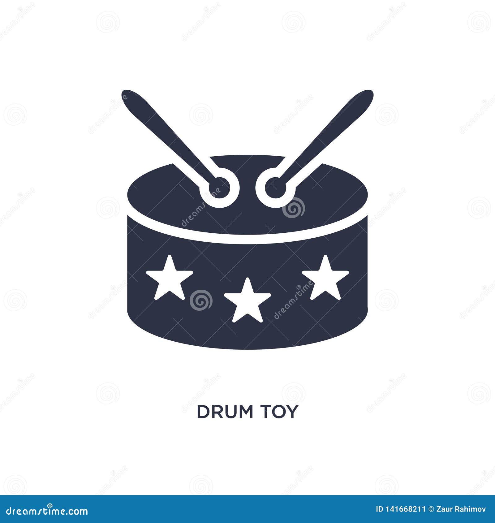 Trommelstuk speelgoed pictogram op witte achtergrond Eenvoudige elementenillustratie van speelgoedconcept