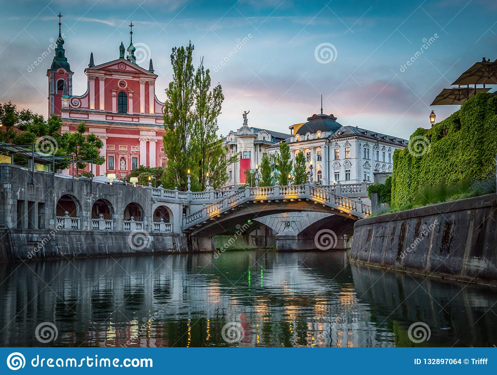 Tromostovje bridge and Ljubljanica river. Ljubljana, Slovenia.