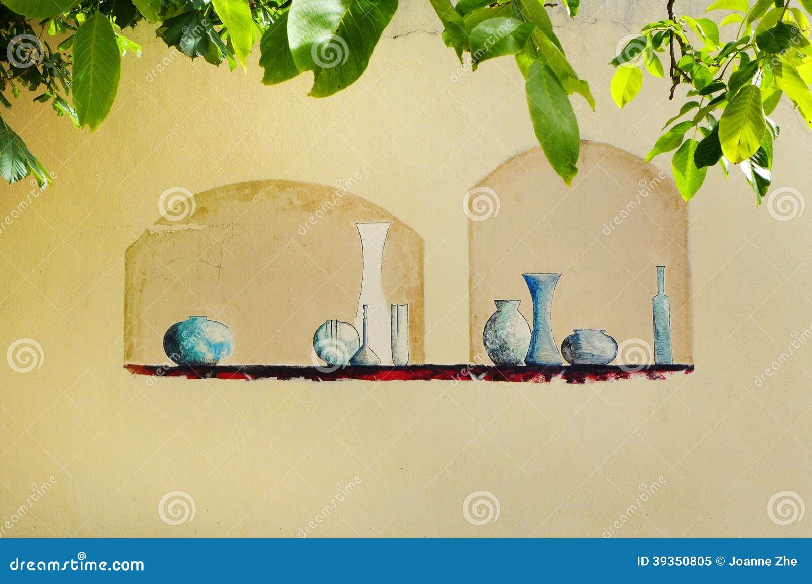 Trompe l 39 oeil de muurschildering van de pretmuur het schilderen in frankrijk stock foto - Deco massief buiten ...
