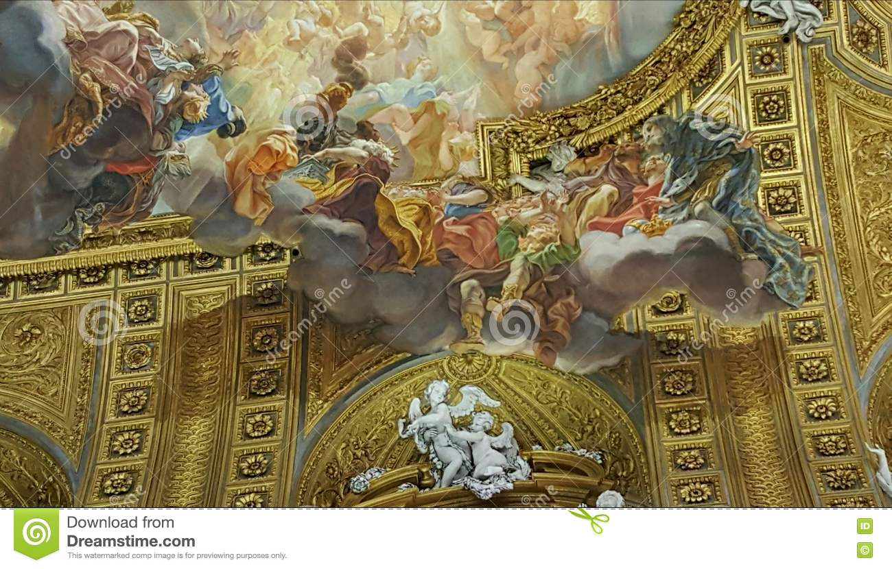 trompe l oeil mural rome italy stock photo image 70411913