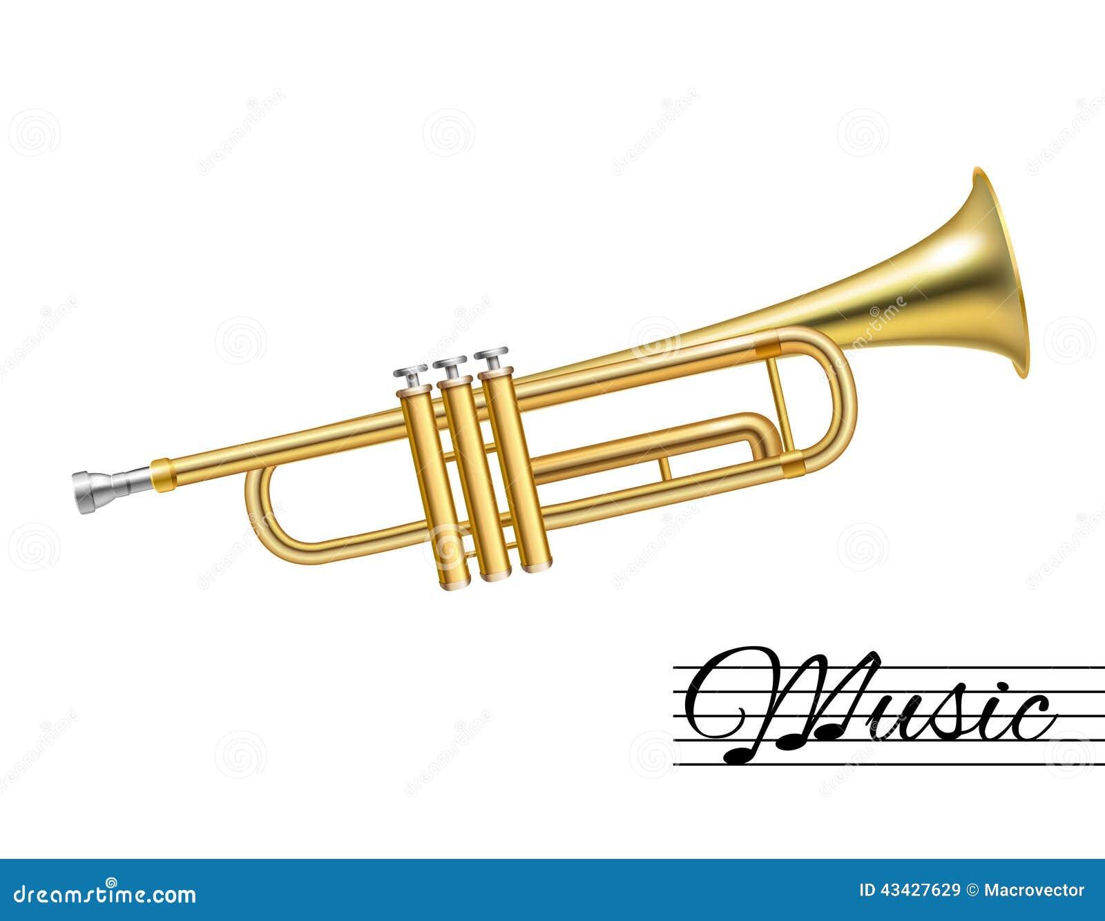 Trompet op wit wordt geïsoleerd dat