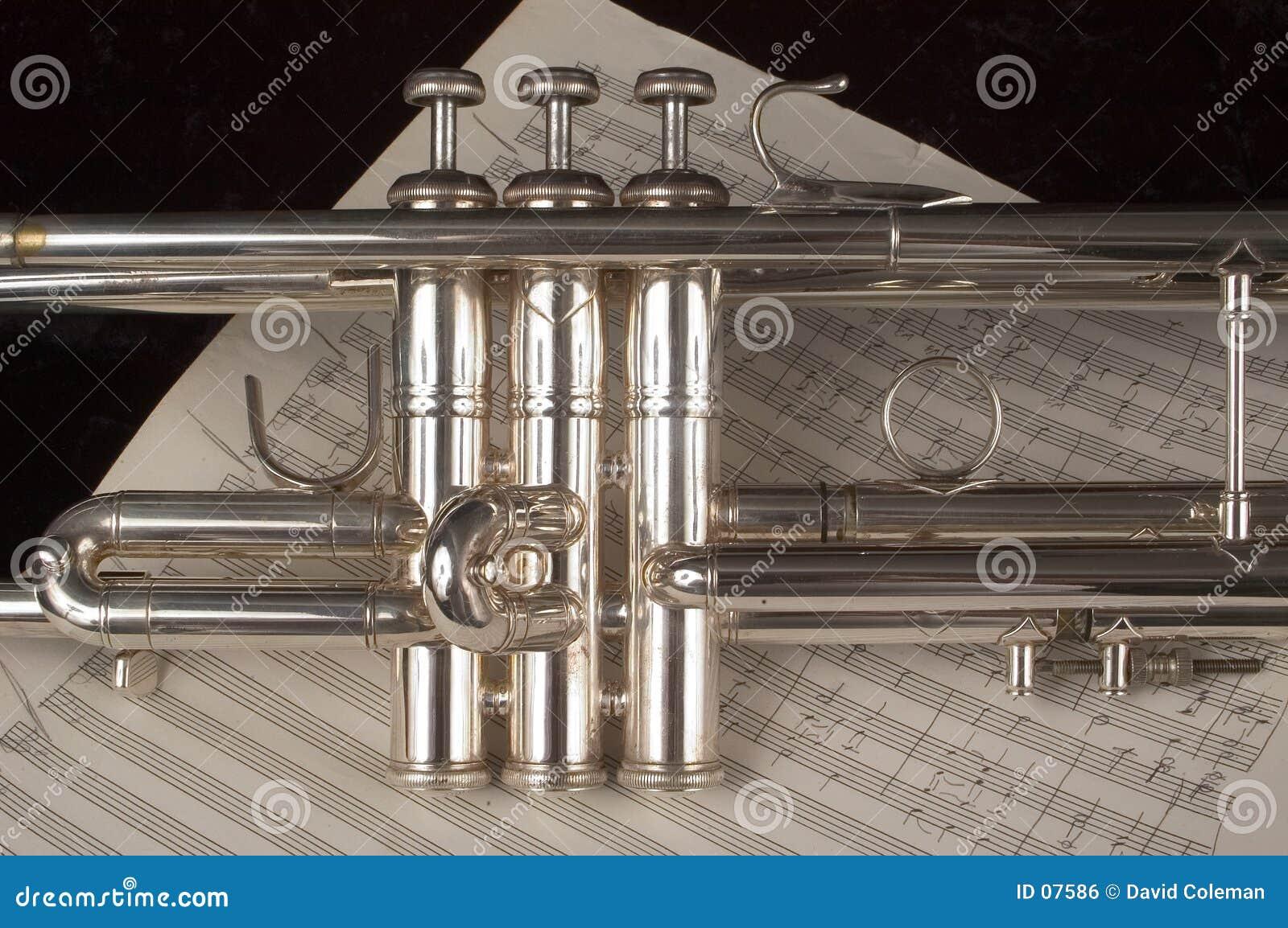 Trompete auf Blattmusik
