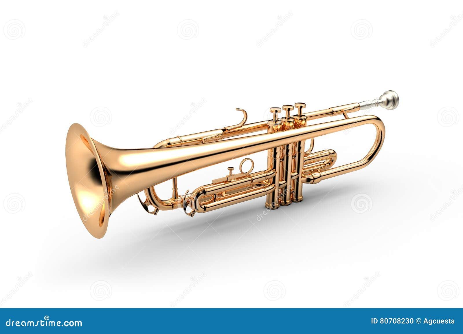 Trompete lokalisiert auf weißer Illustration 3D
