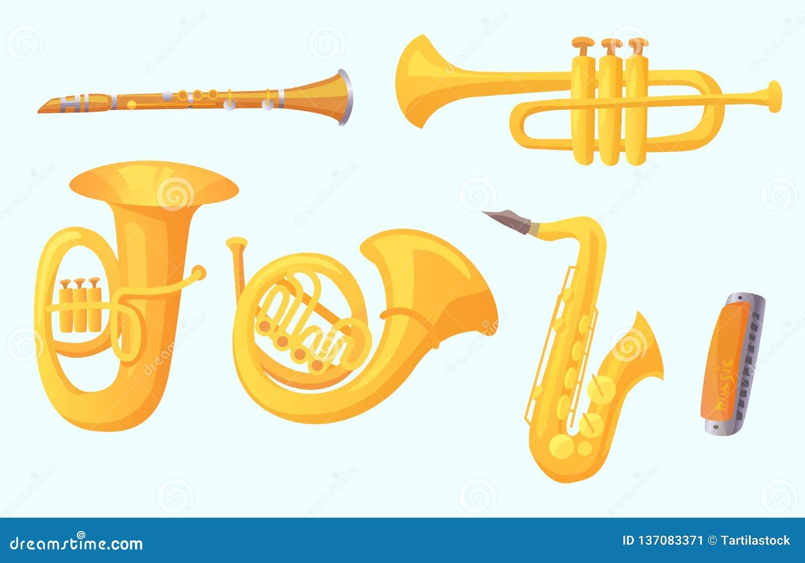 Trompette de bande dessinée Instruments de musique de vents Collection de vecteur d instrument de musique