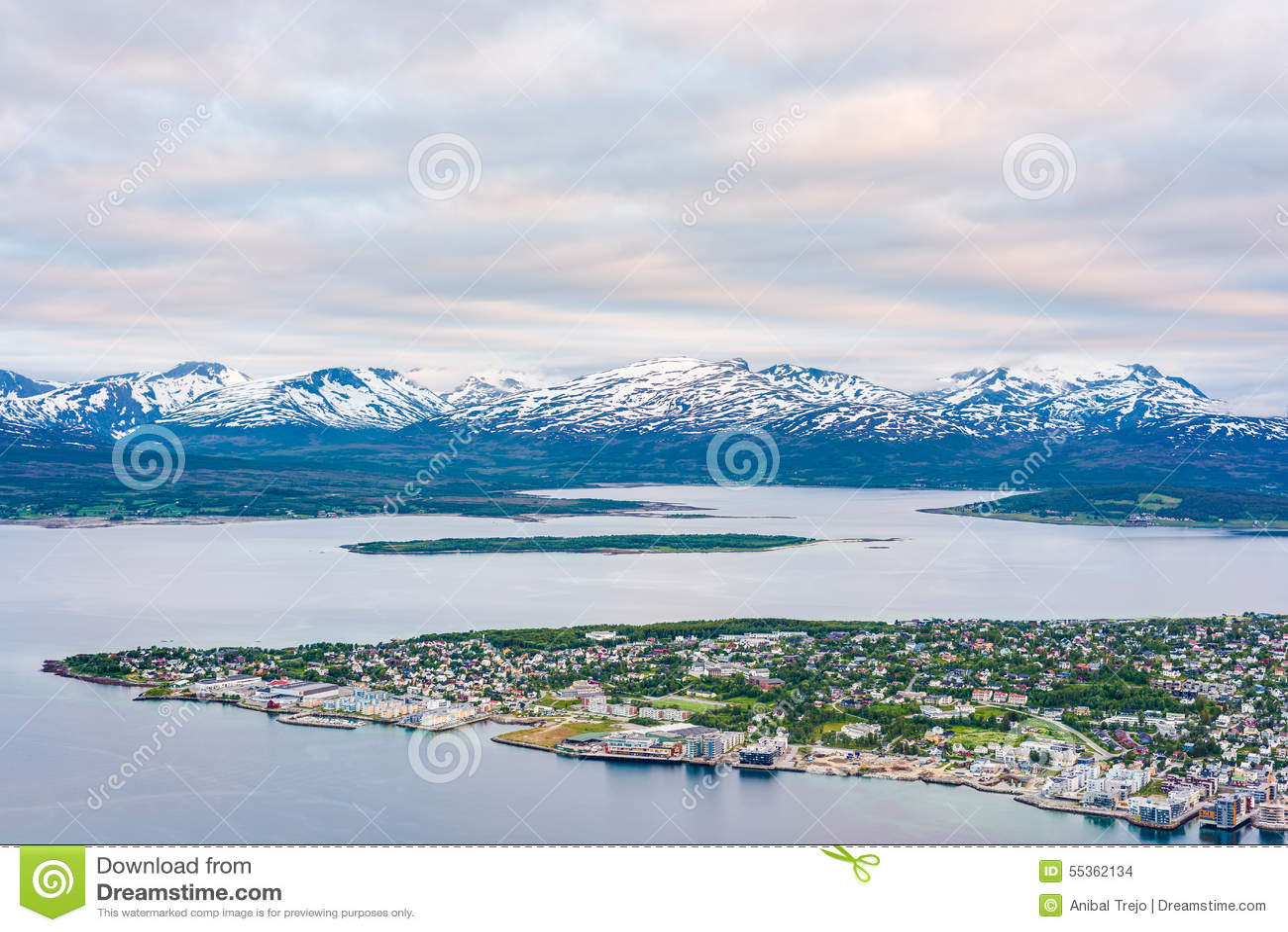 Tromso come visto dal supporto Storsteinen, Norvegia