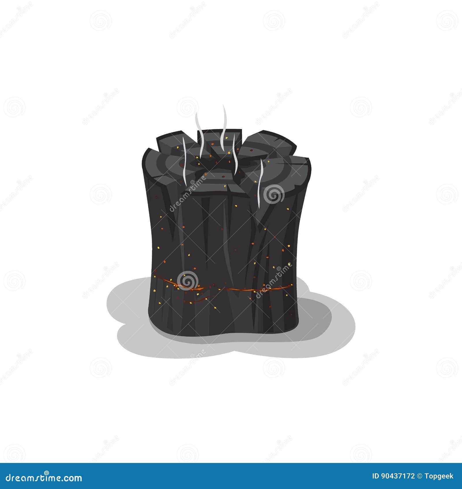 Tronçon brûlé de noir de feu d isolement sur le blanc