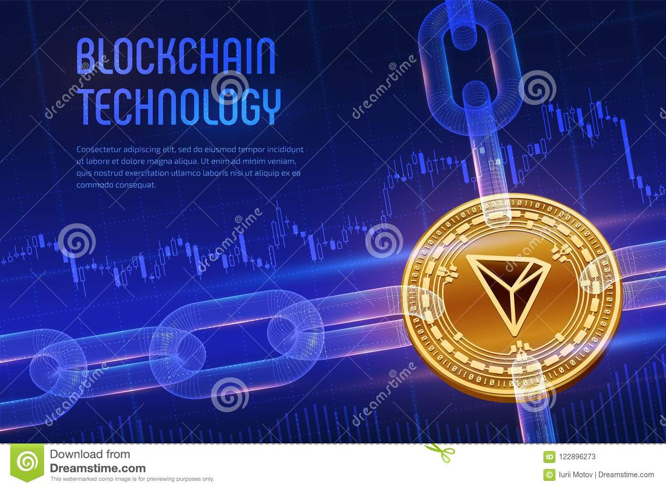 Tron. Crypto currency. Block chain. 3D isometric Physical golden Tron coin with wireframe chain on blue financial background. Bloc