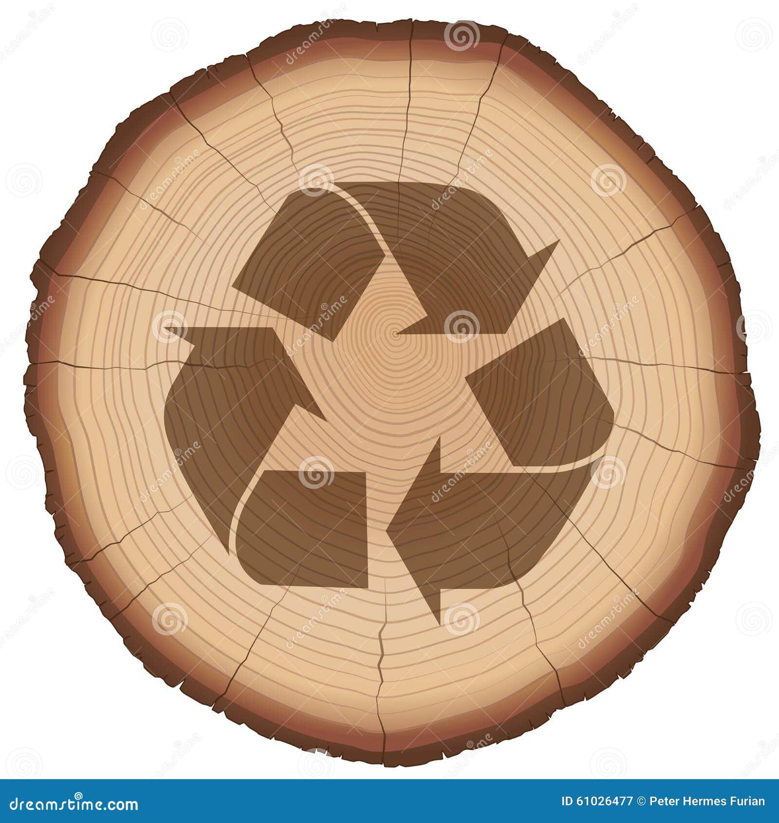 Tronco de rbol de reciclaje de madera del s mbolo - Reciclaje de la madera ...