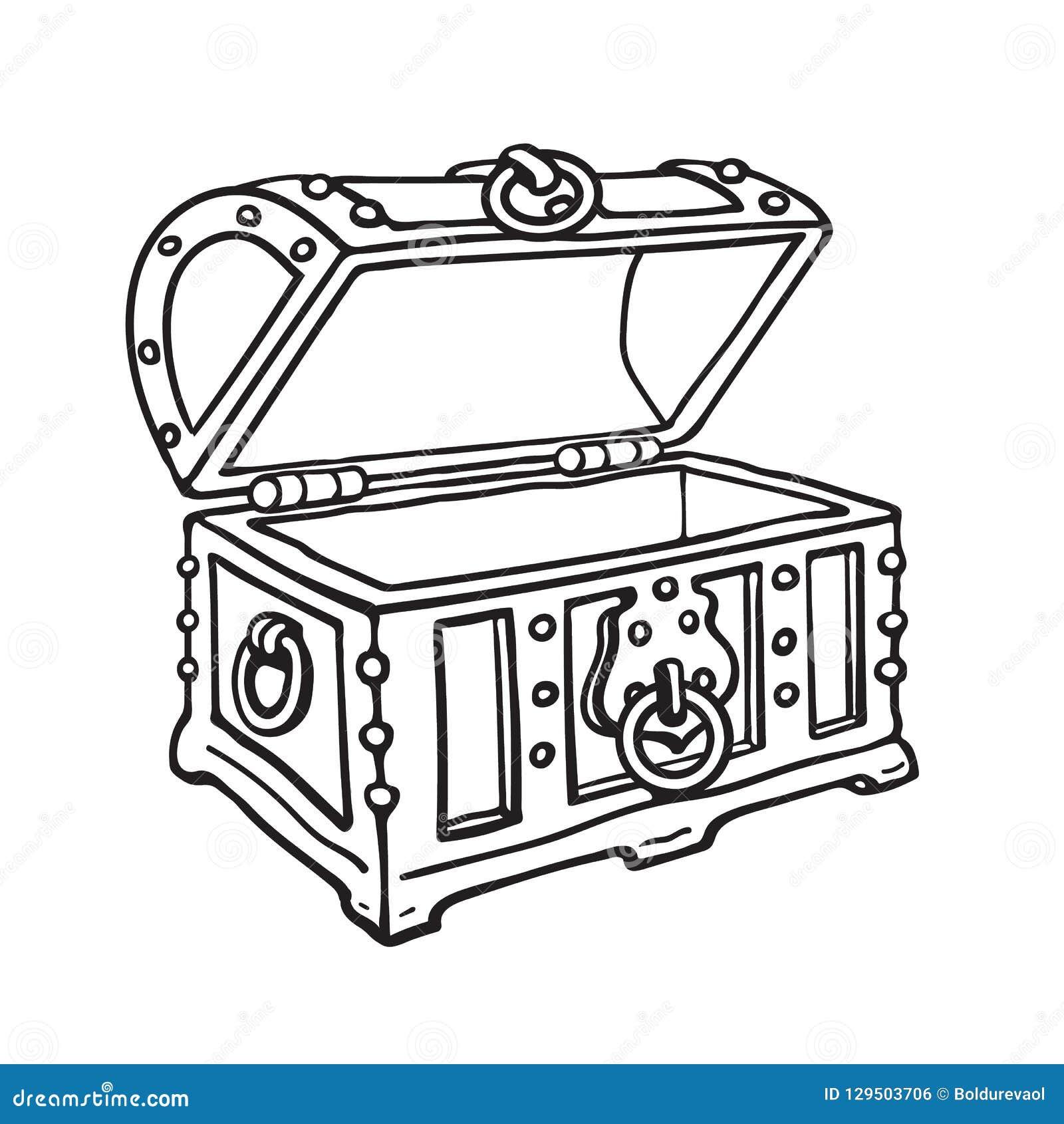 Tronco de madera abierto del cofre del tesoro vacío del pirata Ejemplo aislado dibujado mano del vector del estilo del bosquejo