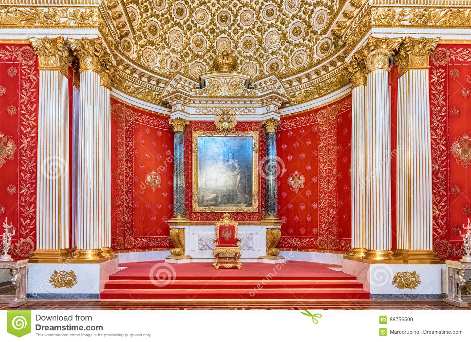 Trono pequeno Salão, museu de eremitério, St Petersburg, Rússia