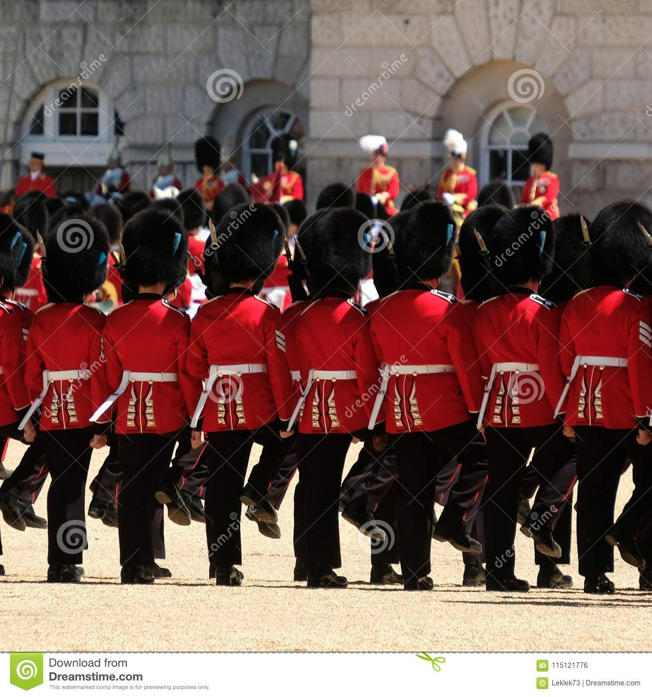 Trooping The Colour Ceremony, London UK  Soldiers March To