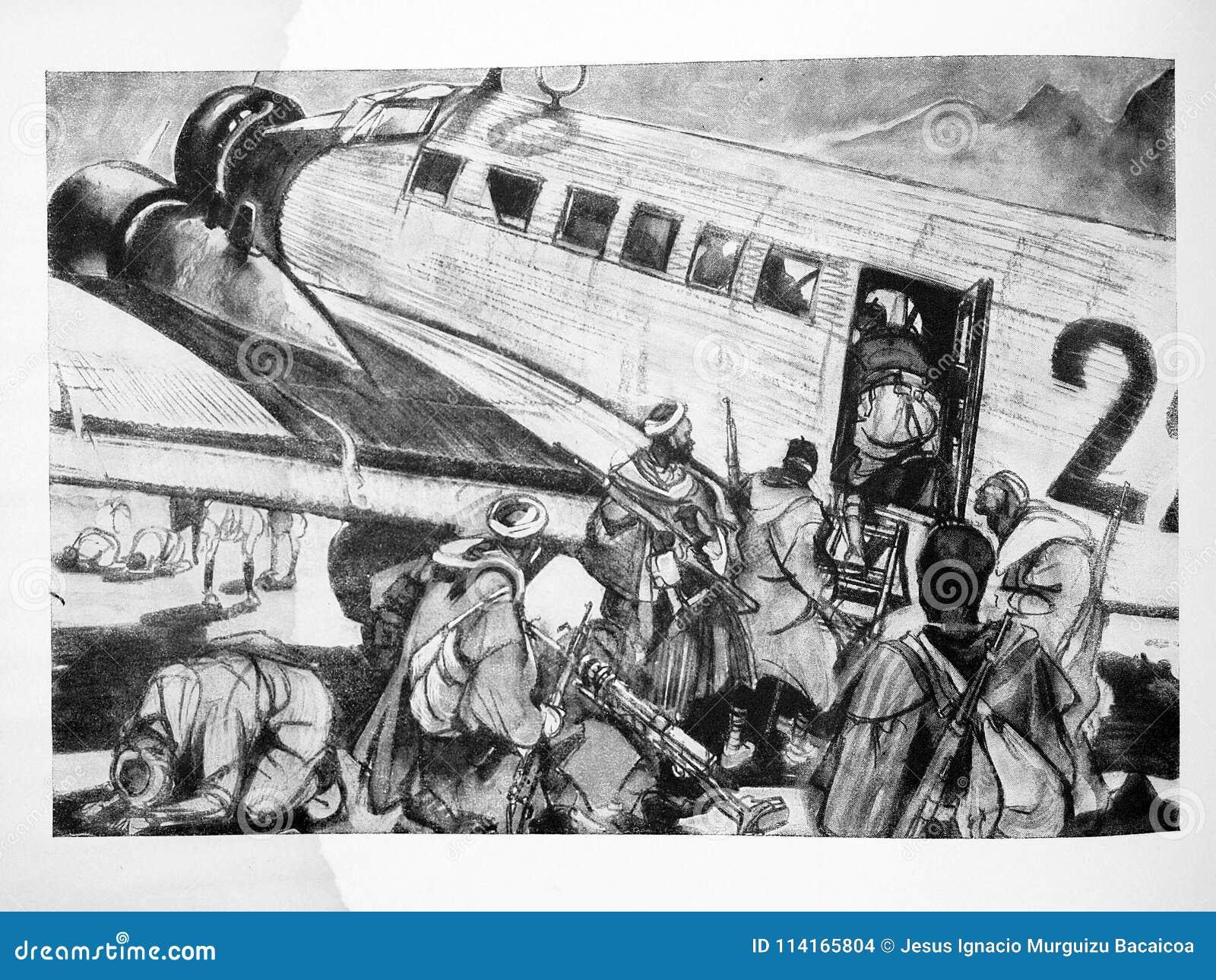 Tropas De Regulars Marroquinos Em Um Ju 52 Guerra Civil Espanhola