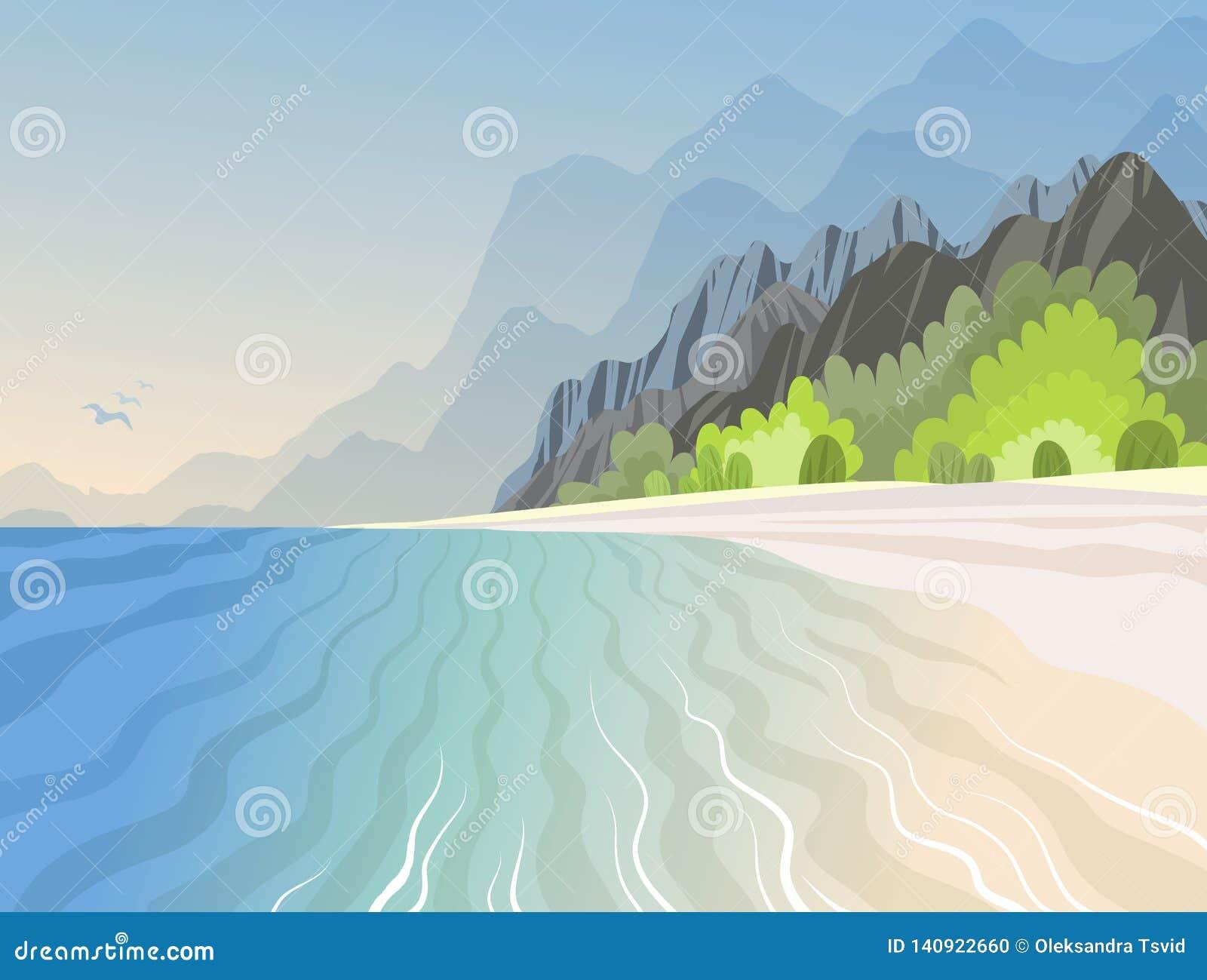 Tropeninsel im Ozean mit mit Hochgebirge und azurblauem Strand