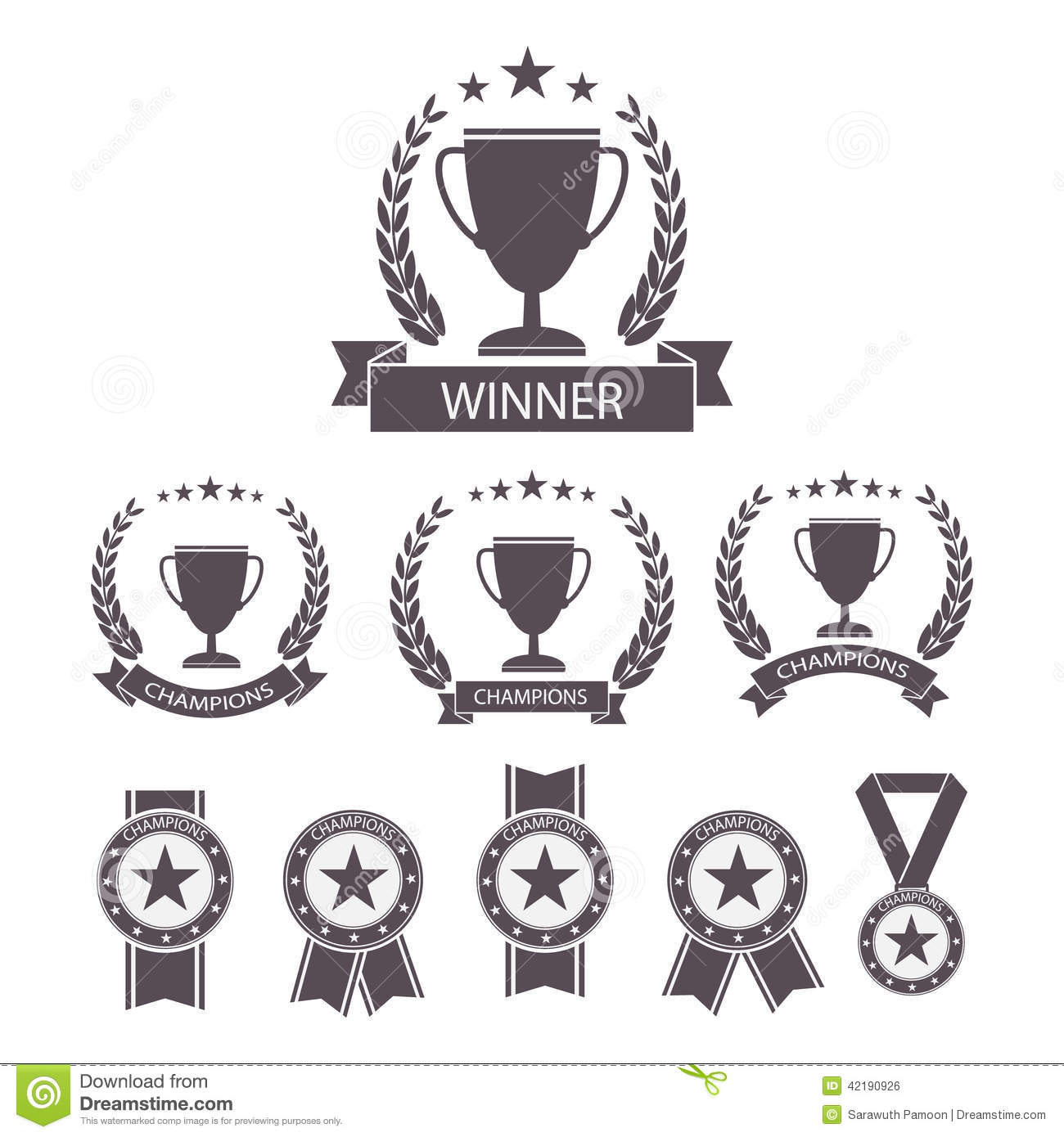 trophy and awards icons set  stock vector