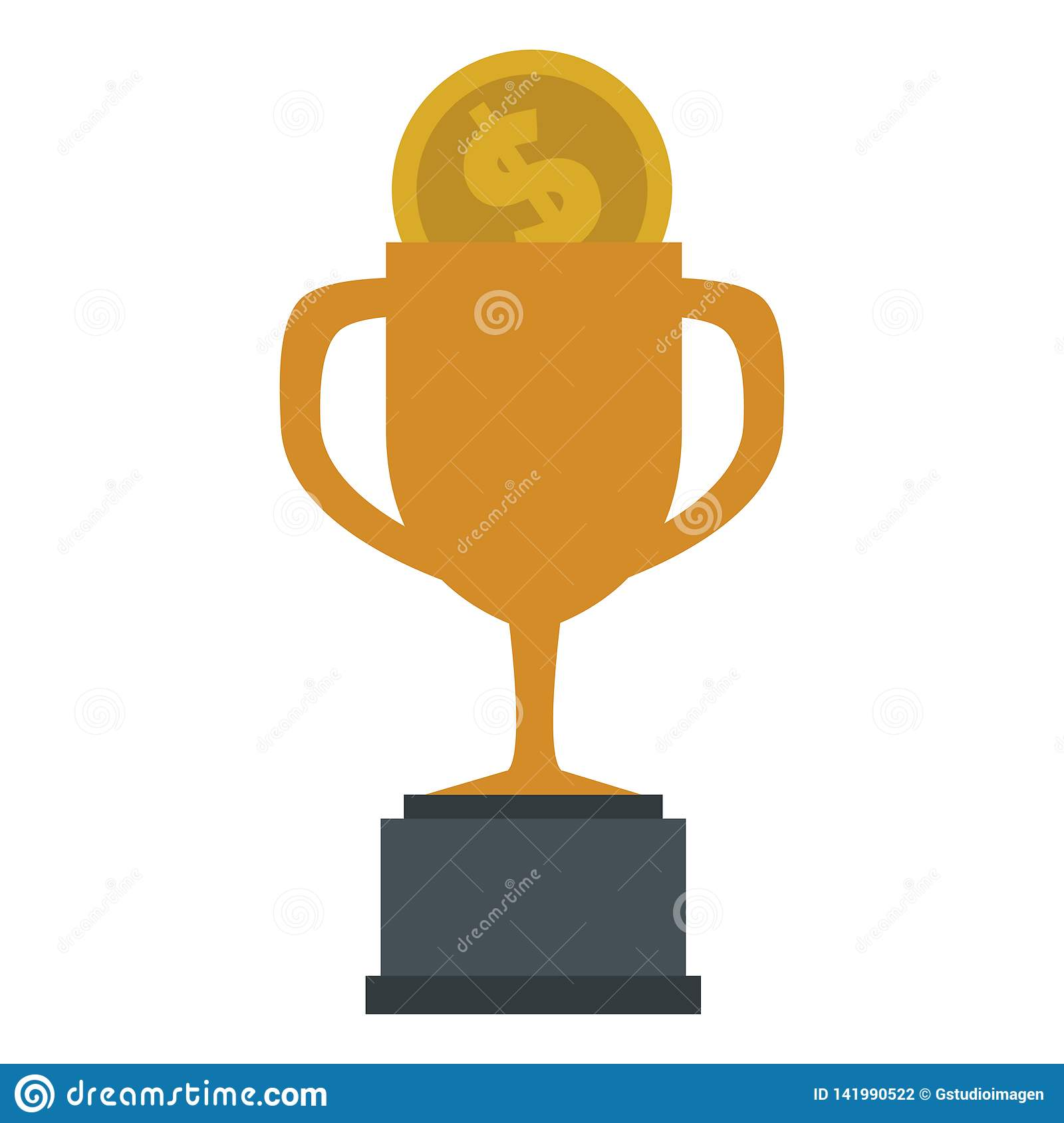 Trophy cup with coin